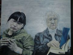 Two Women on the Tube (Commuter series) with faces in the background UNFINISHED